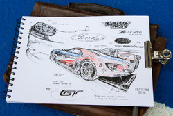 Drawing of the Ford Chip Ganassi Racing Ford GT by Jean-Marie Guivarc'h