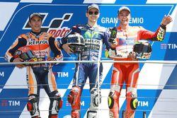Podium: race winner Jorge Lorenzo, Yamaha Factory Racing, second place Marc Marquez, Repsol Honda Te