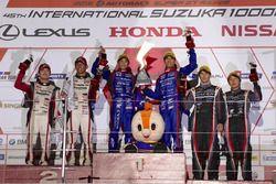 Podium GT300: race winners #61 R&D Sport Subaru BRZ: Takuto Iguchi, Hideki Yamauchi, second place #3