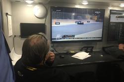 Stewart-Haas Racing crew watching the Formula 1 race