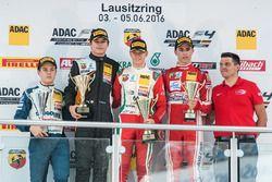 Podium: Best Rookie Felipe Drugovich, Neuhauser Racing; 2. Kami Laliberté, Van Amersfoort Racing; 1. Mick Schumacher, Prema Powerteam; 3. Thomas Preining, Lechner Racing