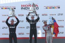 Podium: race winner Simon Pagenaud, Team Penske Chevrolet, second place Will Power, Team Penske Chev