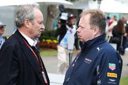 Jerome Stoll, Presidente de Renault Sport F1 con Andy Palmer, Aston Martin CEO