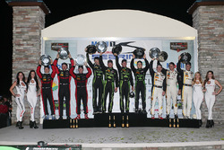 Overall podium: winners Johannes van Overbeek, Scott Sharp, Ed Brown, Pipo Derani, ESM Racing, second place Eric Curran, Dane Cameron, Scott Pruett, Action Express Racing, third place Joao Barbosa, Christian Fittipaldi, Filipe Albuquerque, Action Express Racing