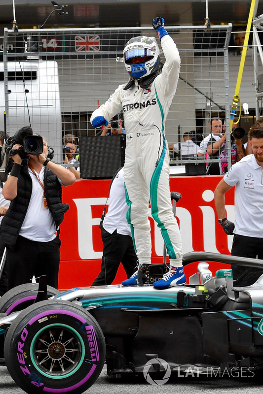 Pole sitter Valtteri Bottas, Mercedes-AMG F1 celebrates in parc ferme