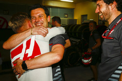 Kevin Magnussen, Haas F1 Team, celebrates a good result after the race