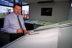 Formula One designer John Barnard at the Ferrari Design and Development company in Guildford