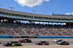 Jimmie Johnson, Hendrick Motorsports, Chevrolet Camaro Lowe's for Pros leads Austin Dillon, Richard