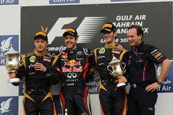 Podium: second place Kimi Raikkonen, Lotus F1 Team, Race winner Sebastian Vettel, Red Bull Racing, Romain Grosjean, Lotus F1 Team, Christian Horner, Red Bull Racing Team Principal