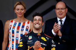 Race winner Daniel Ricciardo, Red Bull Racing, celebrates on the podium
