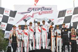 Podium: race winners Kelvin van der Linde, Pierre Kaffer, Markus Winkelhock, Team Magnus, second pla