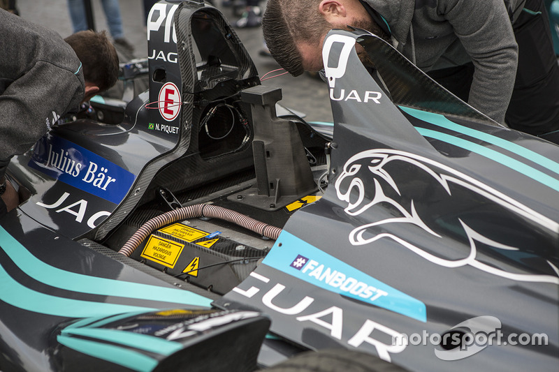 Jaguar Racing Formula E car on display in Rome