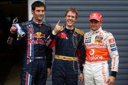 Le poleman Sebastian Vettel, Toro Rosso, Mark Webber, Red Bull Racing, Heikki Kovalainen, McLaren