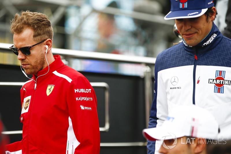 Sebastian Vettel, Ferrari, Lance Stroll, Williams Racing, pilotlar geçit töreninde