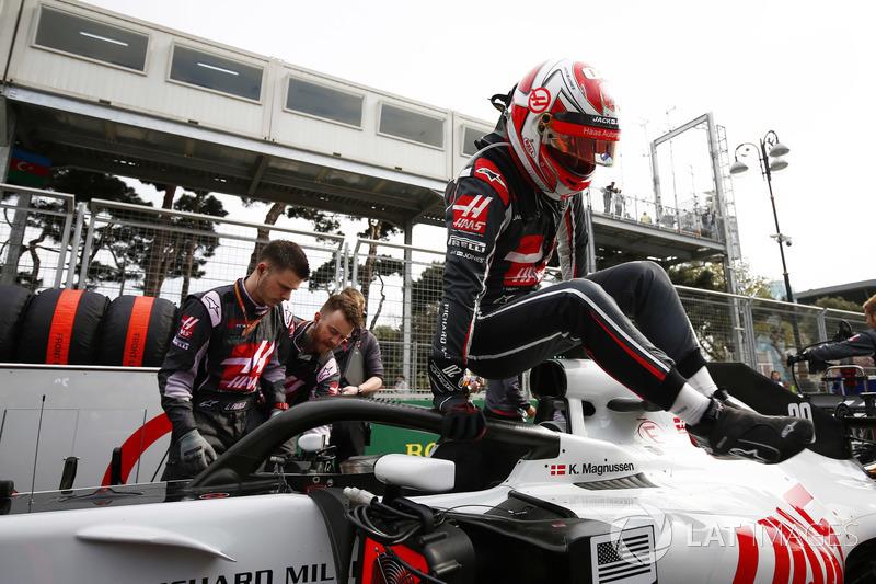 Kevin Magnussen, Haas F1 Team, in griglia