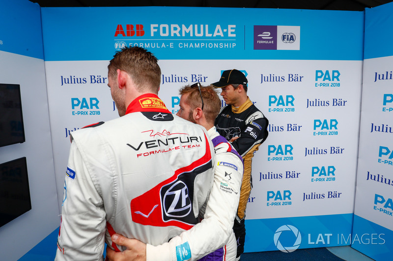 Maro Engel, Venturi Formula E Team, Sam Bird, DS Virgin Racing, Andre Lotterer, Techeetah, in the media pen