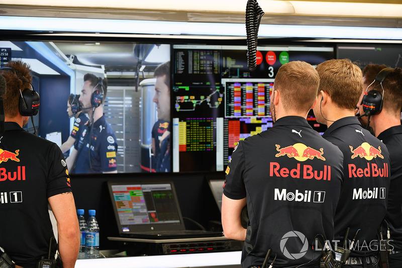 Suasana garasi Red Bull