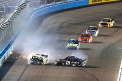 Christopher Bell, Kyle Busch Motorsports Toyota, Noah Gragson, Kyle Busch Motorsports Toyota, crash, Justin Haley, GMS Racing Chevrolet
