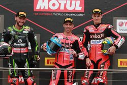 Podium: race winner Marco Melandri, Aruba.it Racing-Ducati SBK Team, second place Tom Sykes, Kawasaki Racing, third place Chaz Davies, Aruba.it Racing-Ducati SBK Team