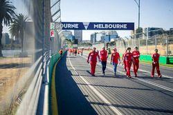 Sebastian Vettel, Ferrari walks the track with Maurizio Arrivabene, Ferrari Team Principal and Ricca
