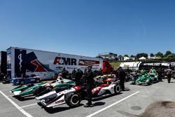 Graham Rahal, Rahal Letterman Lanigan Racing Honda and other cars wait to go to tech inspection