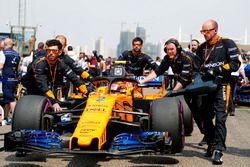 Stoffel Vandoorne, McLaren MCL33 Renault, arrives on the grid
