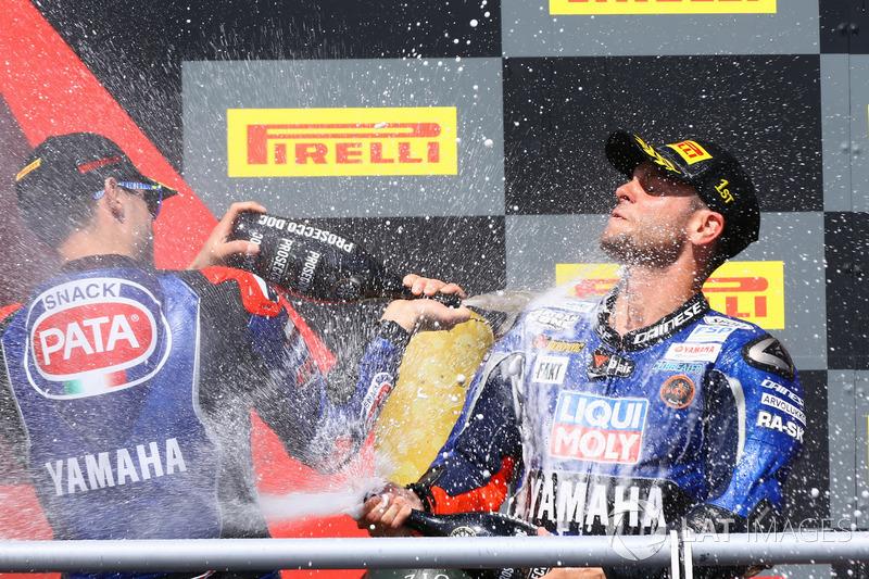 Podium: Federico Caricasulo, GRT Yamaha Official WorldSSP Team, Sandro Cortese, Kallio Racing