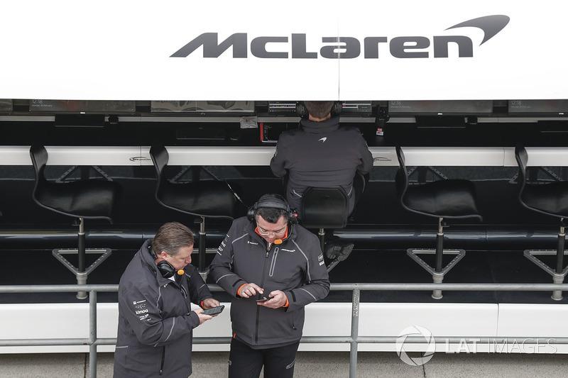 Zak Brown, Executive Director, McLaren Technology Group, Eric Boullier, Racing Director, McLaren