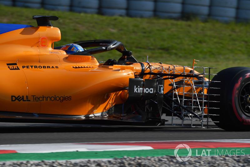 Lando Norris, McLaren MCL33 con sensores aerodinámicos