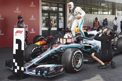 Lewis Hamilton, Mercedes AMG F1 W09, 1st position, celebrates on arrival in Parc Ferme