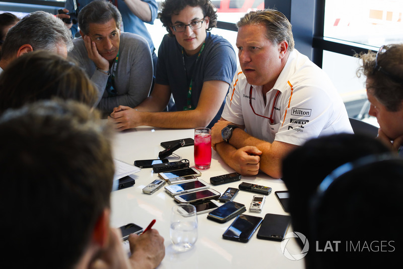 Zak Brown, CEO, McLaren Technology Group, holds a Press Conference