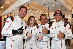 F1 Experiences 2-Seater passenger Barbara Palvin, with Zsolt Baumgartner, F1 Experiences 2-Seater driver and Patrick Friesacher, F1 Experiences 2-Seater driver