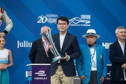 Trophy presentation on the podium