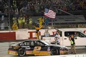 Brad Keselowski, Team Penske, Ford Fusion Miller Genuine Draft celebrates his win