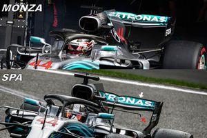 Comparación del alerón trasero del Mercedes W09
