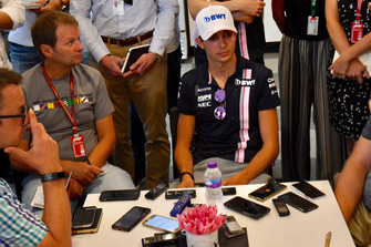 Esteban Ocon, Racing Point Force India F1 Team talks with the media