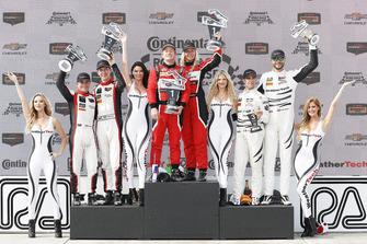 #48 Paul Miller Racing Lamborghini Huracan GT3, GTD - Madison Snow, Bryan Sellers, #58 Wright Motorsports Porsche 911 GT3 R, GTD - Patrick Long, Christina Nielsen, #63 Scuderia Corsa Ferrari 488 GT3, GTD - Cooper MacNeil, Alessandro Pier Guidi, podium