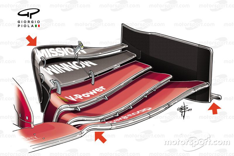 Ferrari SF90, dettaglio dell'ala anteriore del GP dell'Azerbaijan