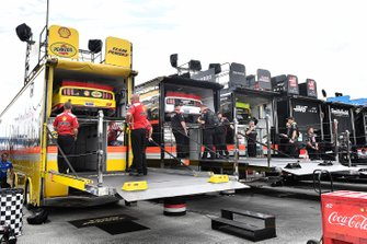 Joey Logano, Team Penske, Ford Mustang Shell Pennzoil hauler, Brad Keselowski, Team Penske, Ford Mustang Discount Tire hauler, and Ryan Blaney, Team Penske, Ford Mustang Menards/Richmond hauler