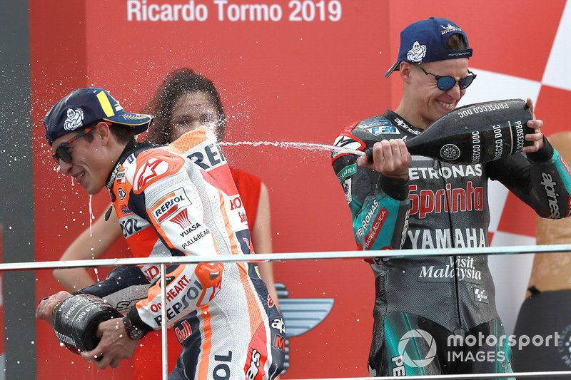Podio: ganador de la carrera, Marc Márquez, Repsol Honda Team, segundo lugar Fabio Quartararo, Petronas Yamaha SRT