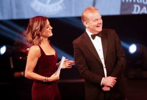 Natalie Pinkham, Sky TV, and Jonathan Palmer on stage