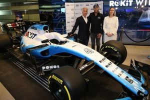 Sylvan Adams, President of Roy Nissany F1 Management with Roy Nissany, Offical Williams Racing Test Driver and Claire Williams, Williams Racing Deputy Team Principal