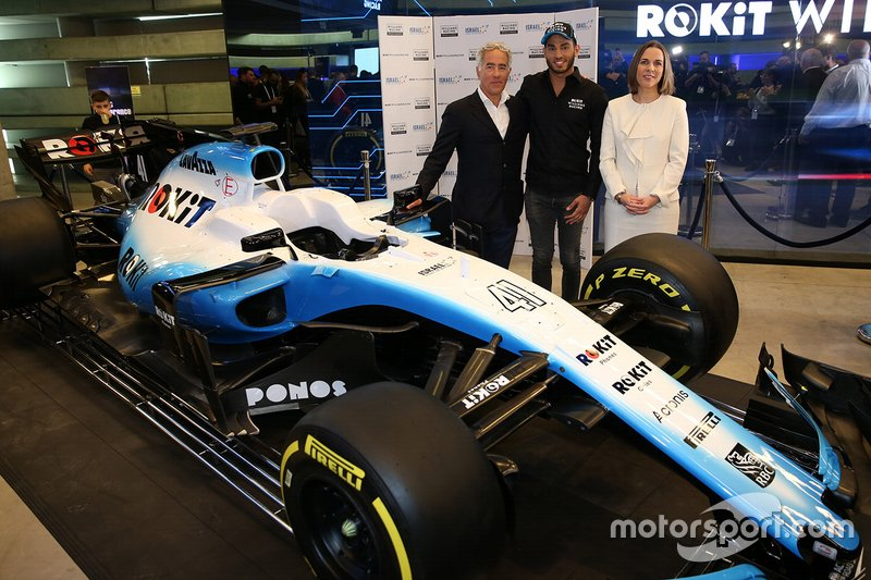 Sylvan Adams, Presidente di Roy Nissany F1 Management con Roy Nissany, tester Williams e Claire Williams, Vice team principal Williams