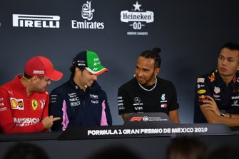 Sebastian Vettel, Ferrari, Sergio Perez, Racing Point, Lewis Hamilton, Mercedes AMG F1 and Alex Albon, Red Bull Racing in the Press Conference