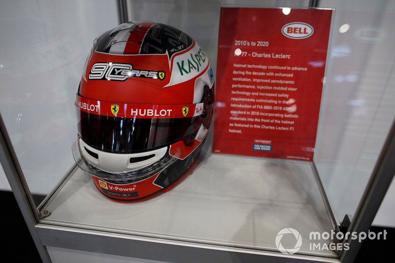 Charles Leclerc's helmet on display