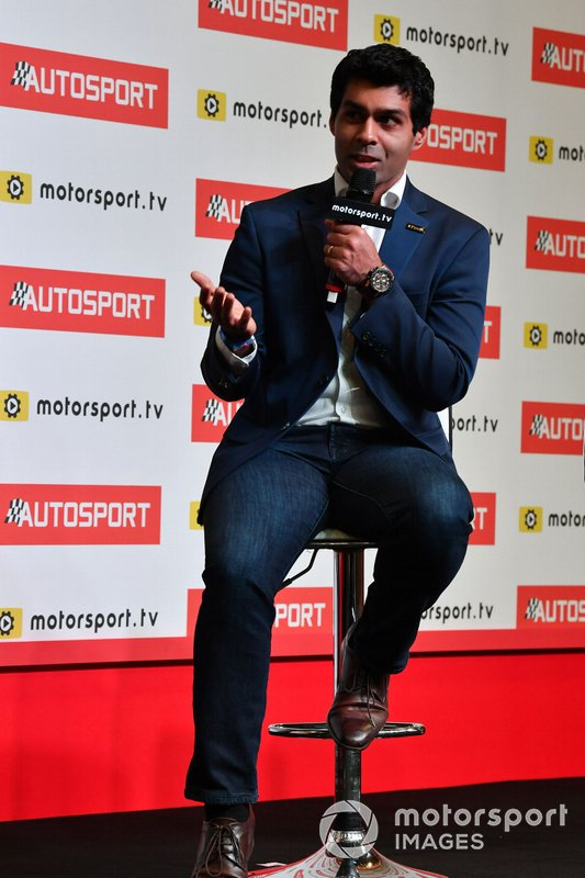 Karun Chandhok is interviewed on the Autosport stage