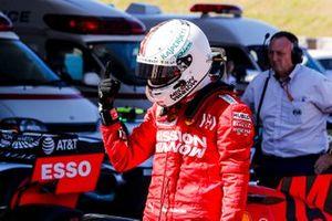 Sebastian Vettel, Ferrari, celebrates in Parc Ferme after securing pole position