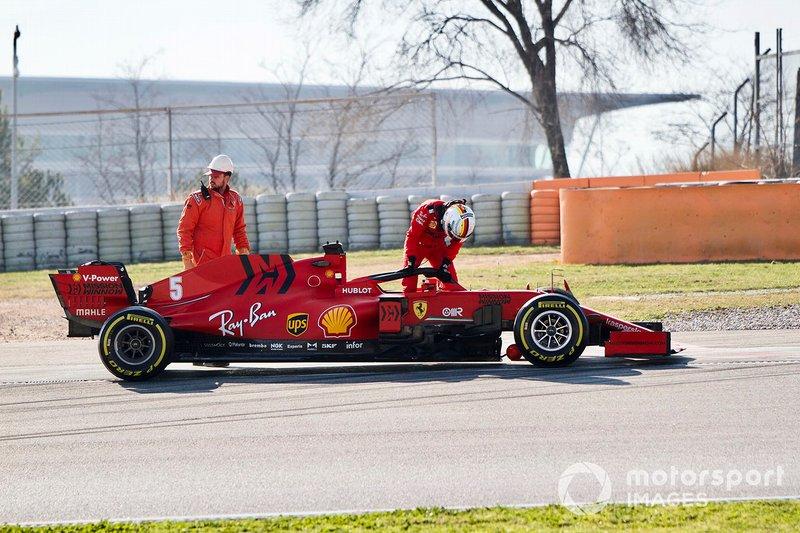 Sebastian Vettel, Ferrari SF1000 fermo in pista