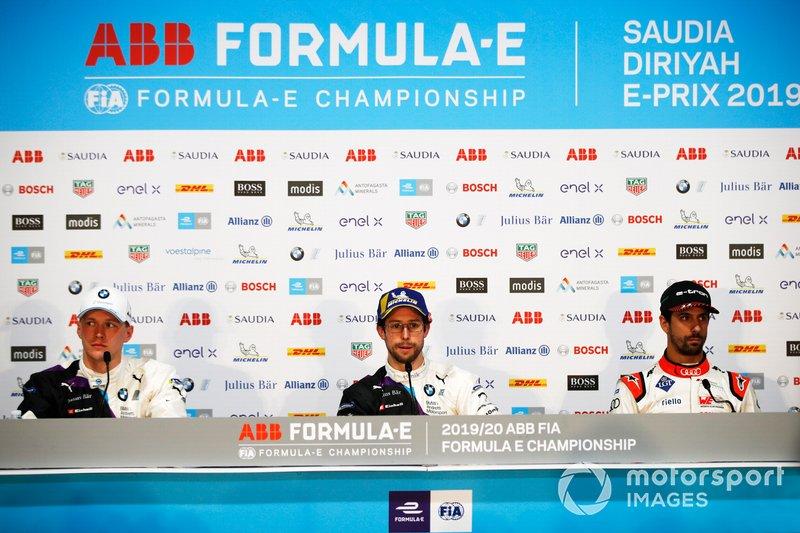 Maximilian Gunther, BMW I Andretti Motorsports, Alexander Sims, BMW I Andretti Motorsports, Lucas Di Grassi, Audi Sport ABT Schaeffler, lors de la conférence de presse