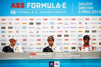 Maximilian Gunther, BMW I Andretti Motorsports, Alexander Sims, BMW I Andretti Motorsports, Lucas Di Grassi, Audi Sport ABT Schaeffler, in conferenza stampa